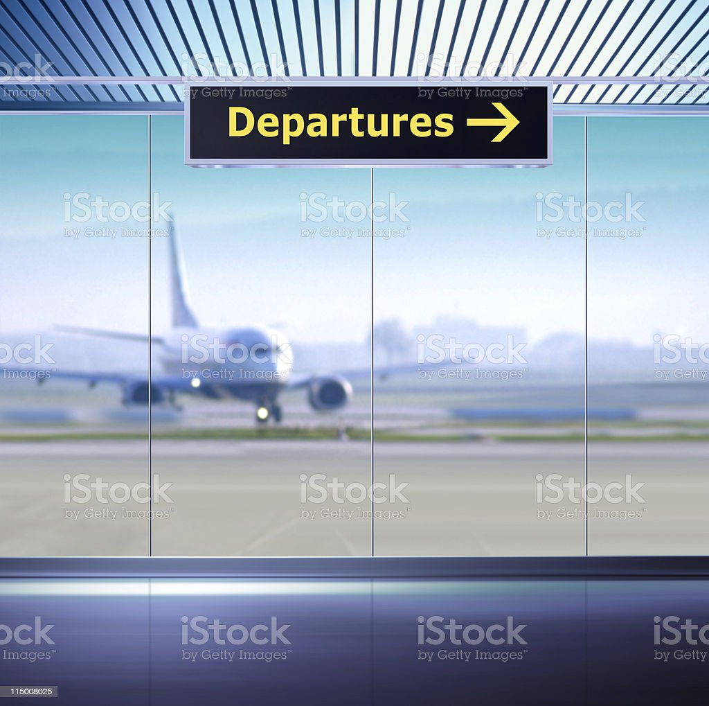 Departures direction sign at the airport stock photo