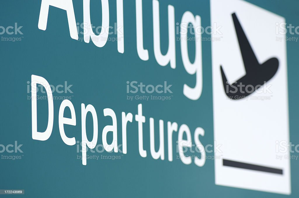 Departures sign at the airport royalty-free stock photo