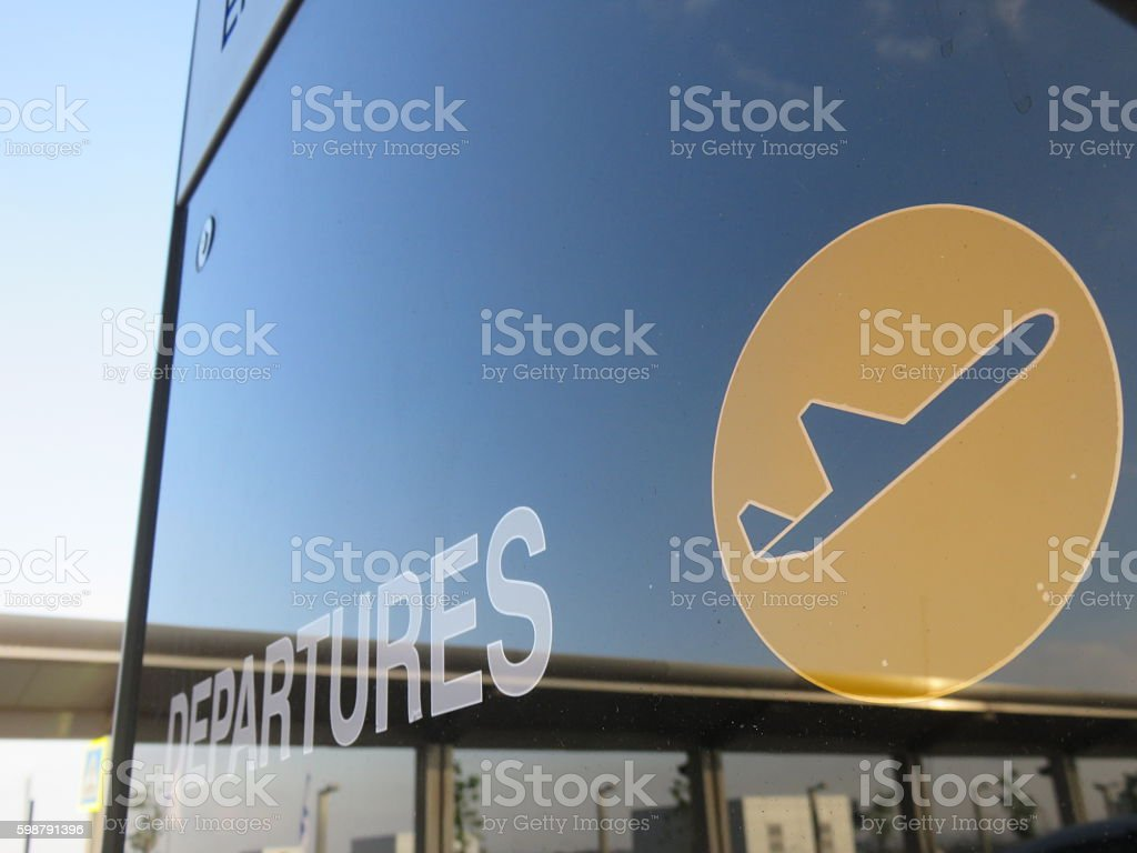 Departures sign - Ben Gurion Airport - Israel stock photo