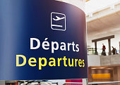 Departures sign in airport