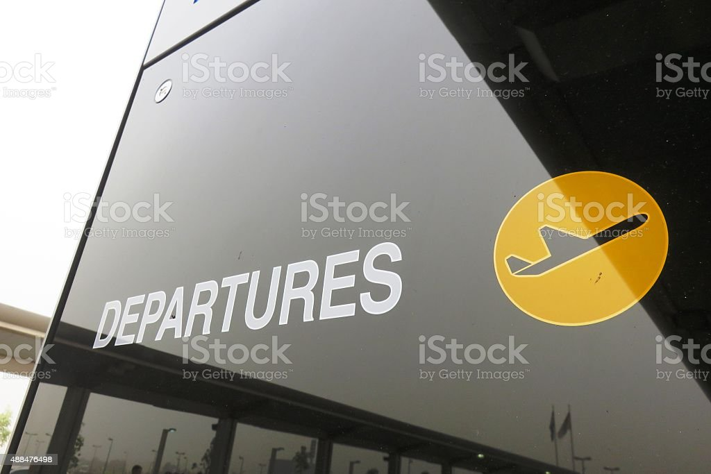 Departures sign stock photo