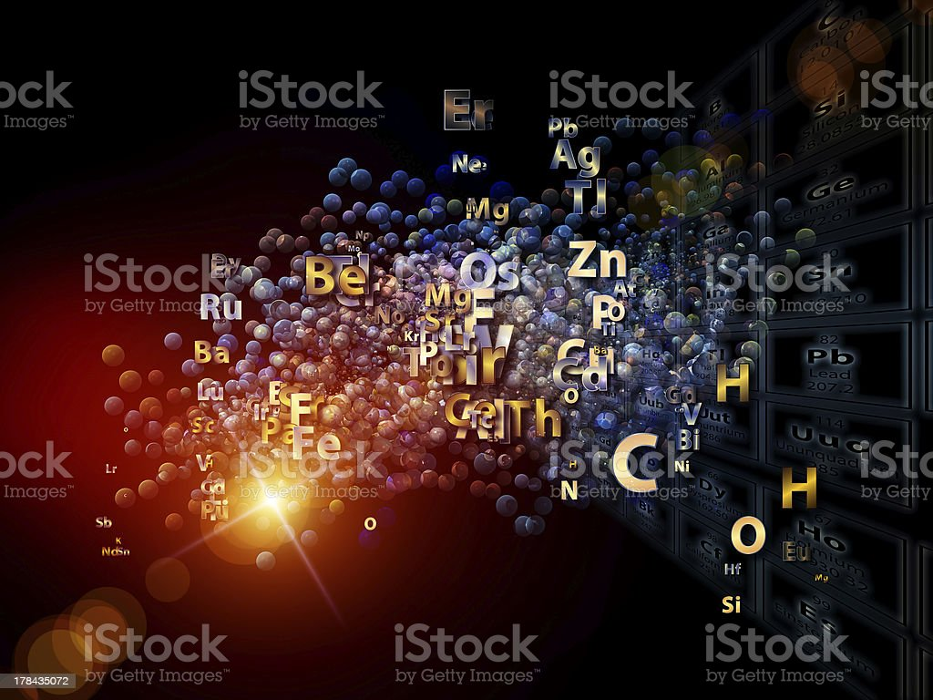 A depiction of all of the element abbreviations stock photo