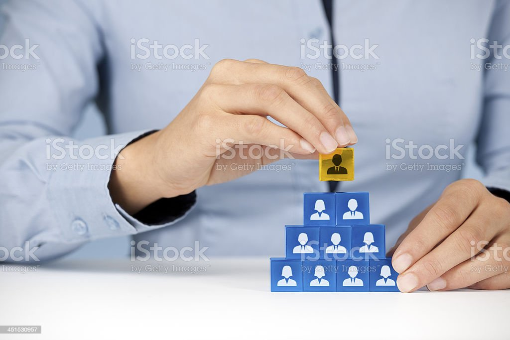 Depiction of the pyramid scheme employed in business models  stock photo