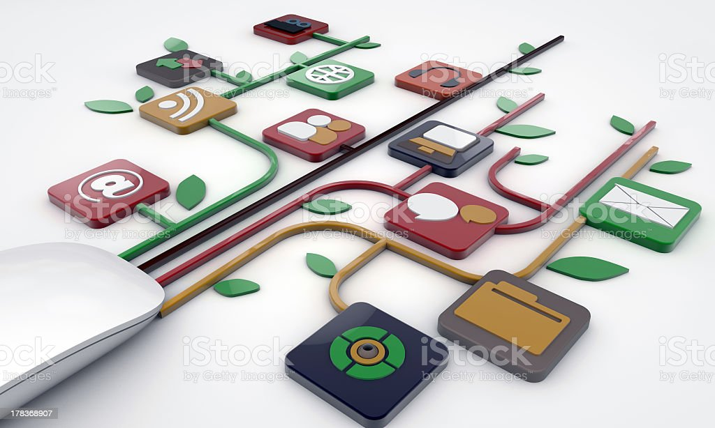 Depiction of various computer connections stock photo