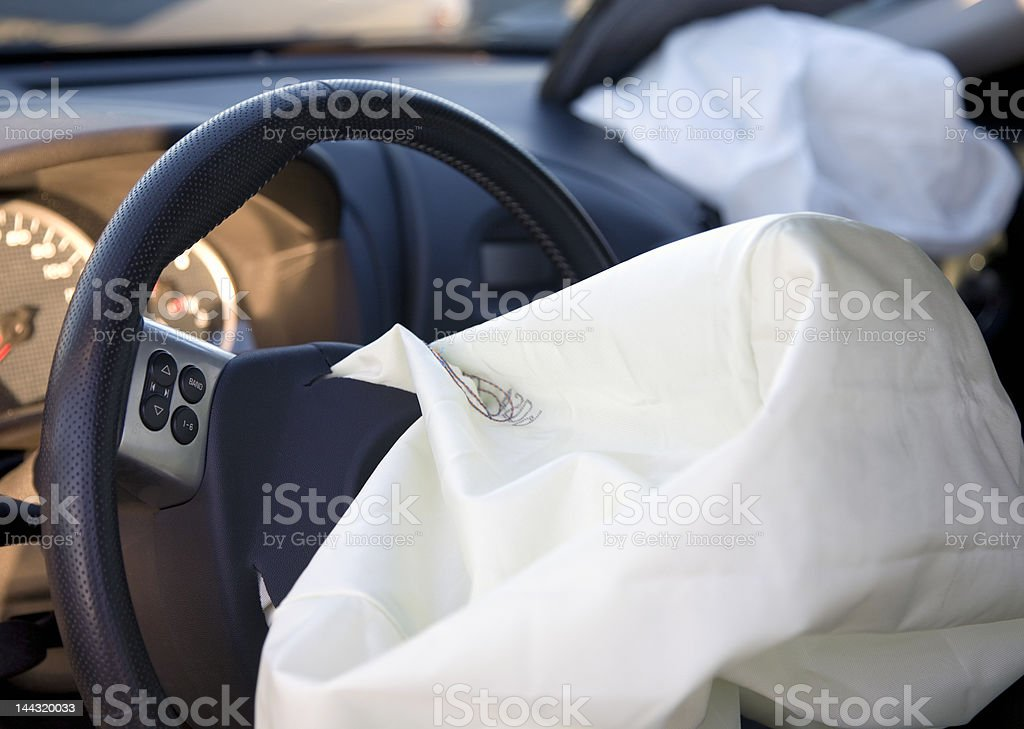 Deployed AirBags Car Accident Aftermath stock photo