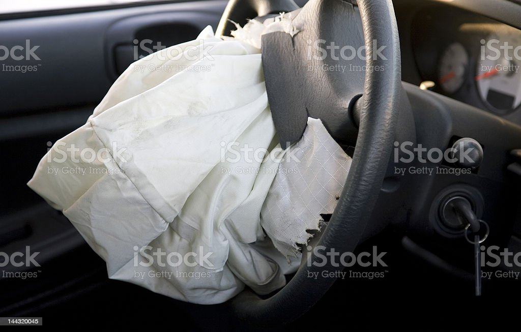 Deployed Drivers Side Airbag stock photo