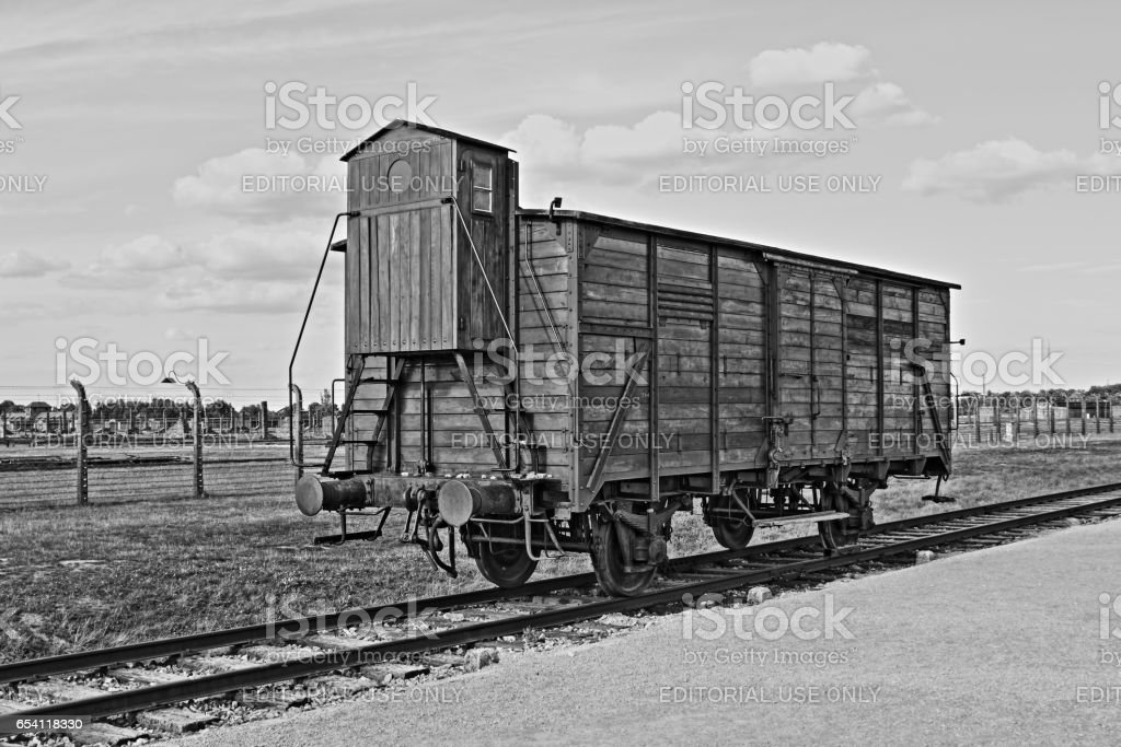Deportation wagon at Auschwitz Birkenau concentration camp stock photo