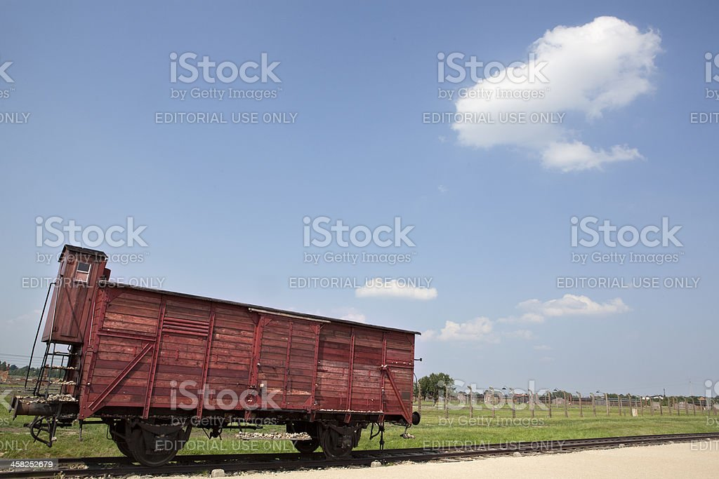 Deportation wagon at Auschwitz Birkenau nazi camp. Poland royalty-free stock photo