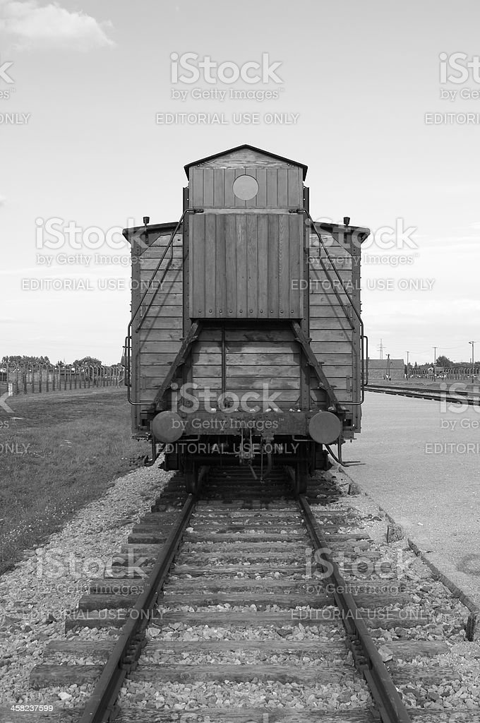 Deportation wagon at Auschwitz Birkenau royalty-free stock photo
