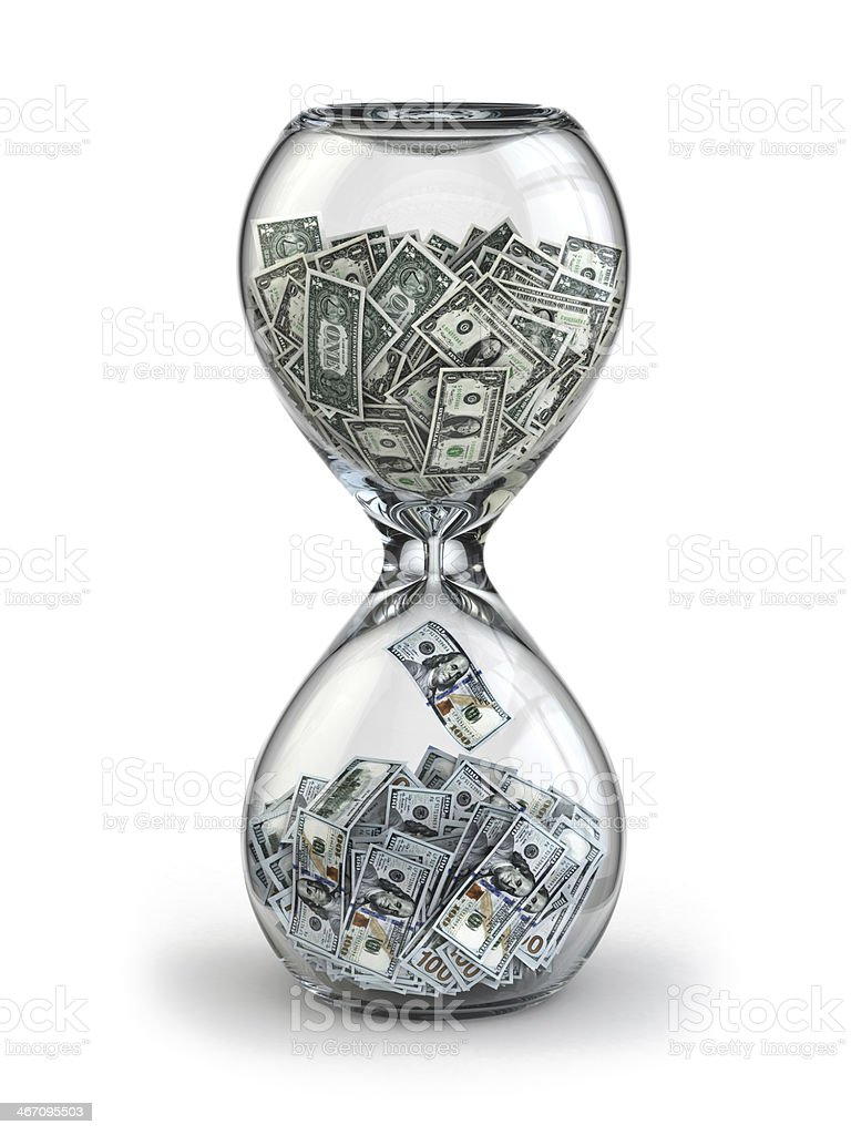 Deposit or investment. Growth of the dollar. Hourglass. stock photo
