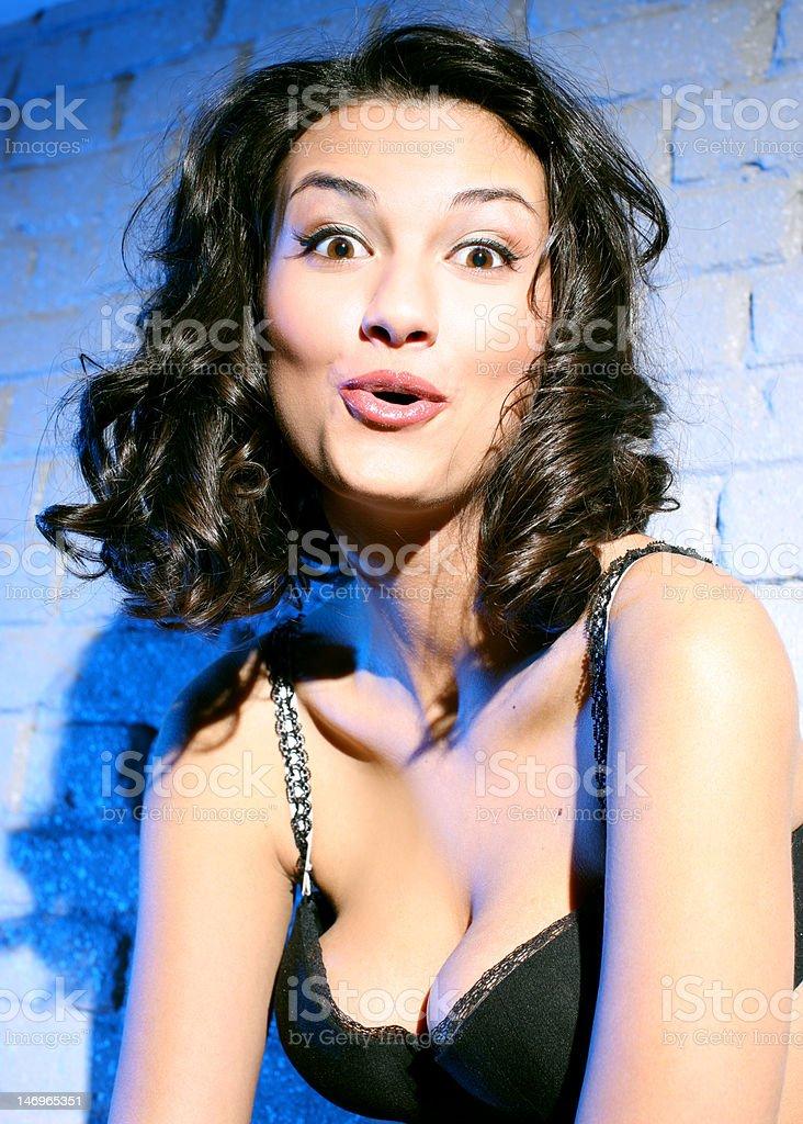 depraved girl at party behaves strangely under drug royalty-free stock photo