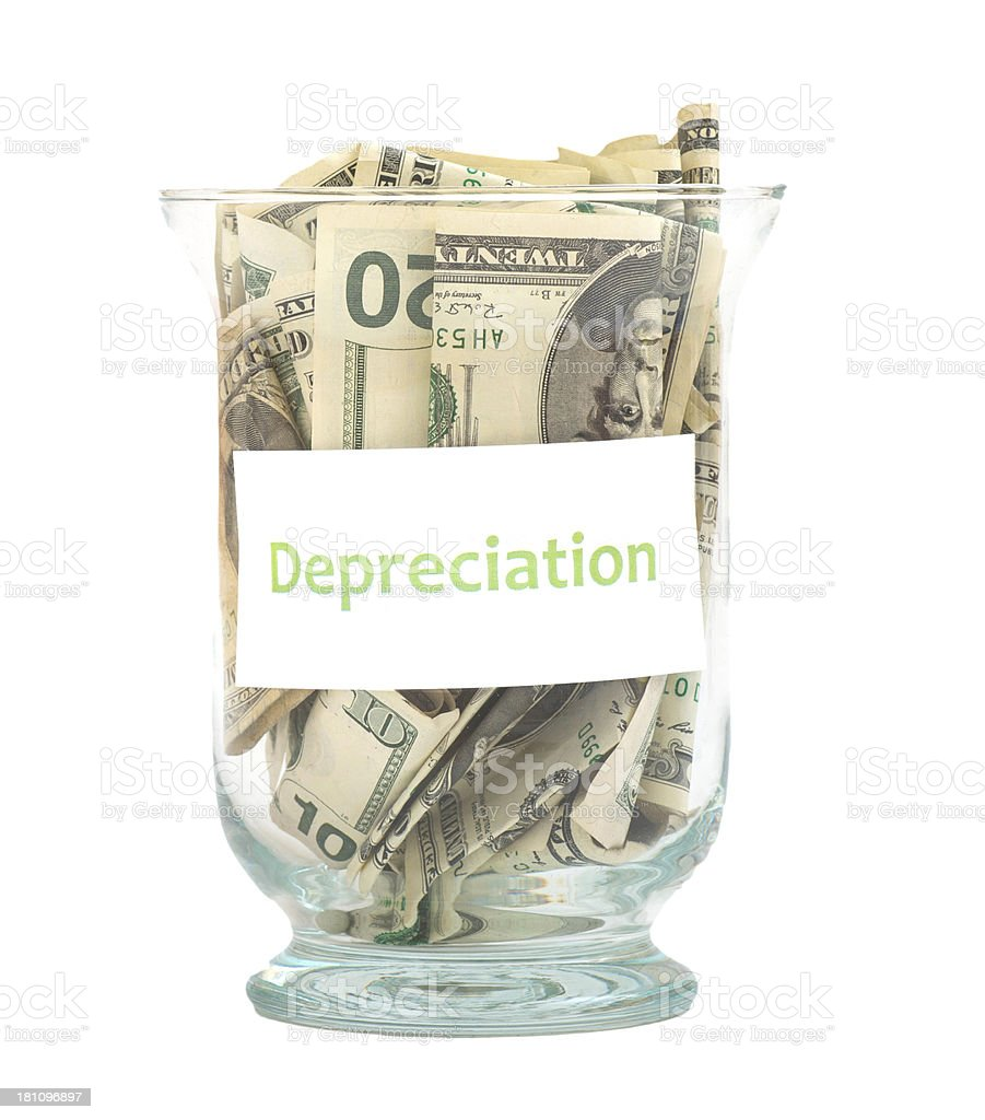 depreciation Dollar Savings in glass royalty-free stock photo