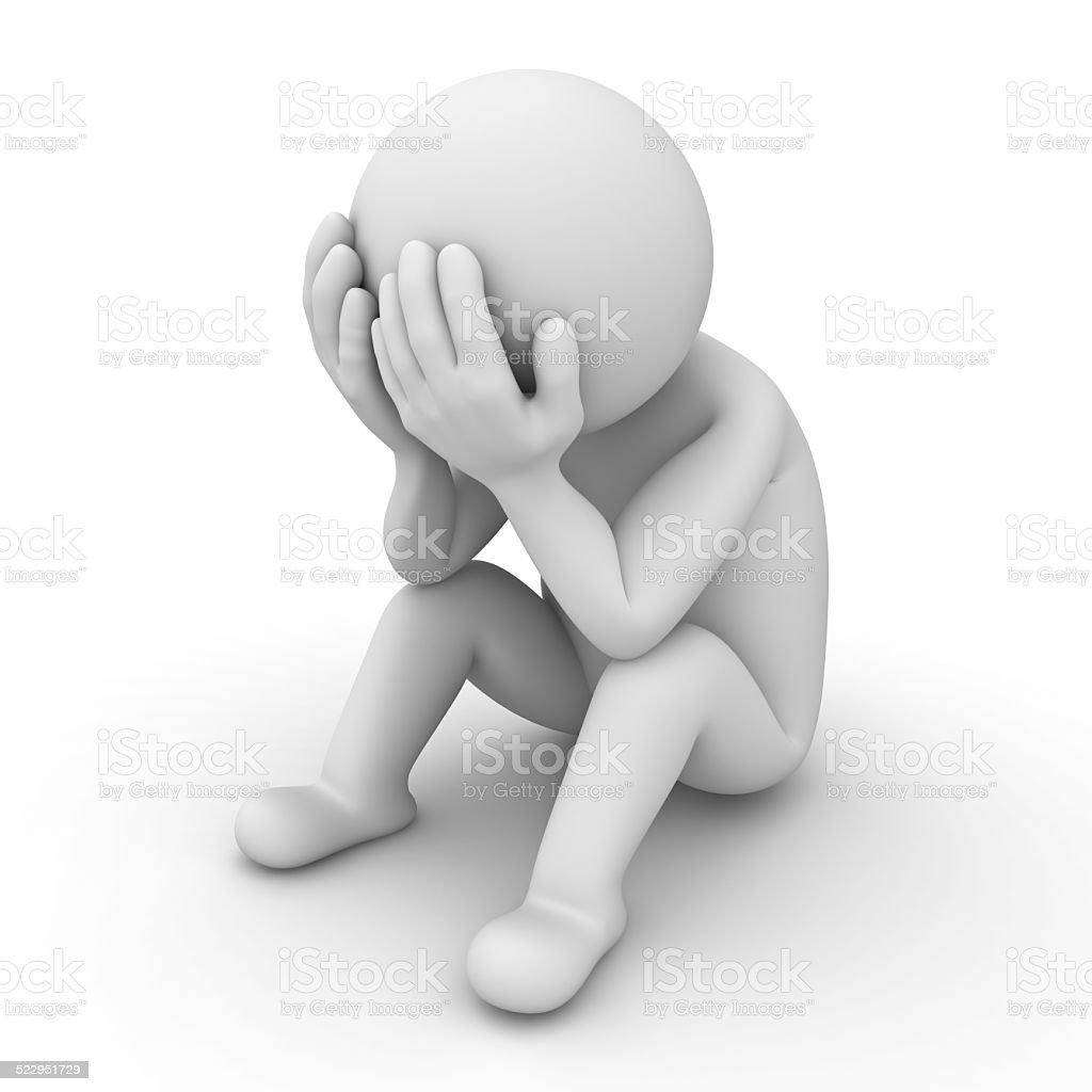 Depressed 3d man sitting on white stock photo