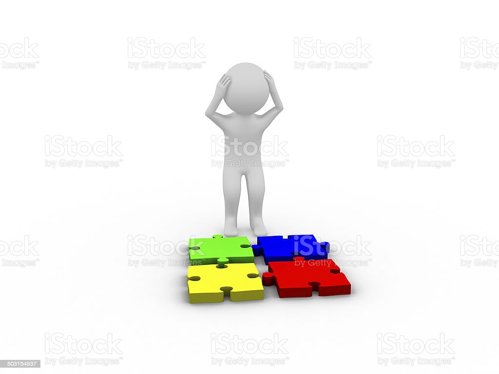 Depressed 3d man with puzzle pieces stock photo