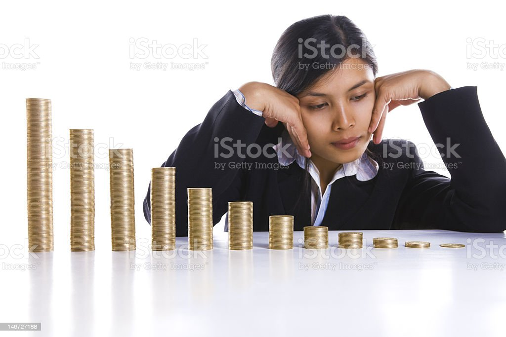 Depressed about losing profit avery month royalty-free stock photo