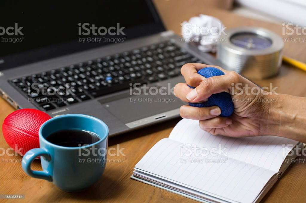Depressed and exhausted working stock photo