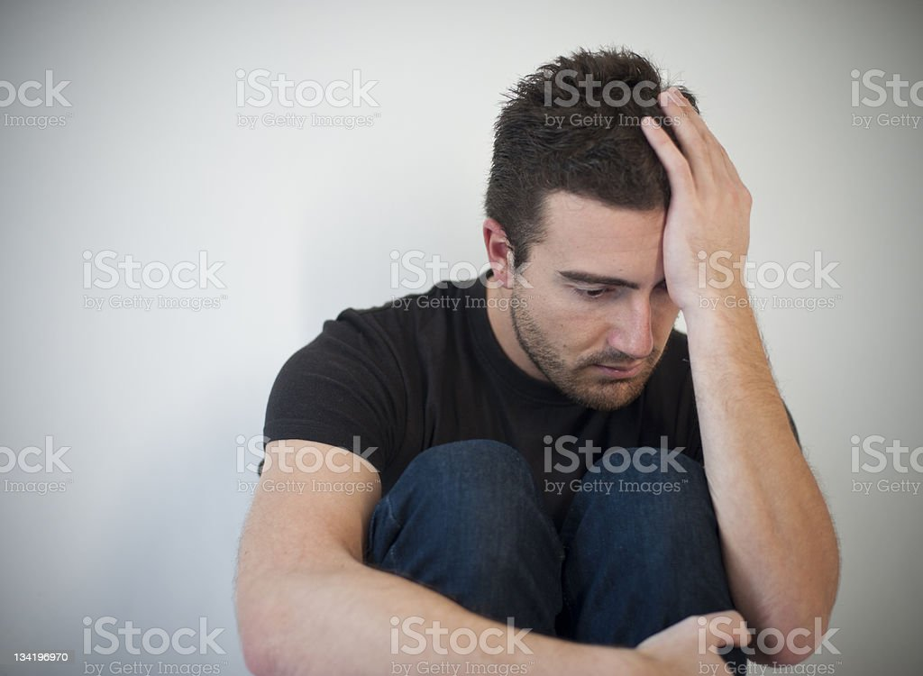 Depressed and solitude man stock photo