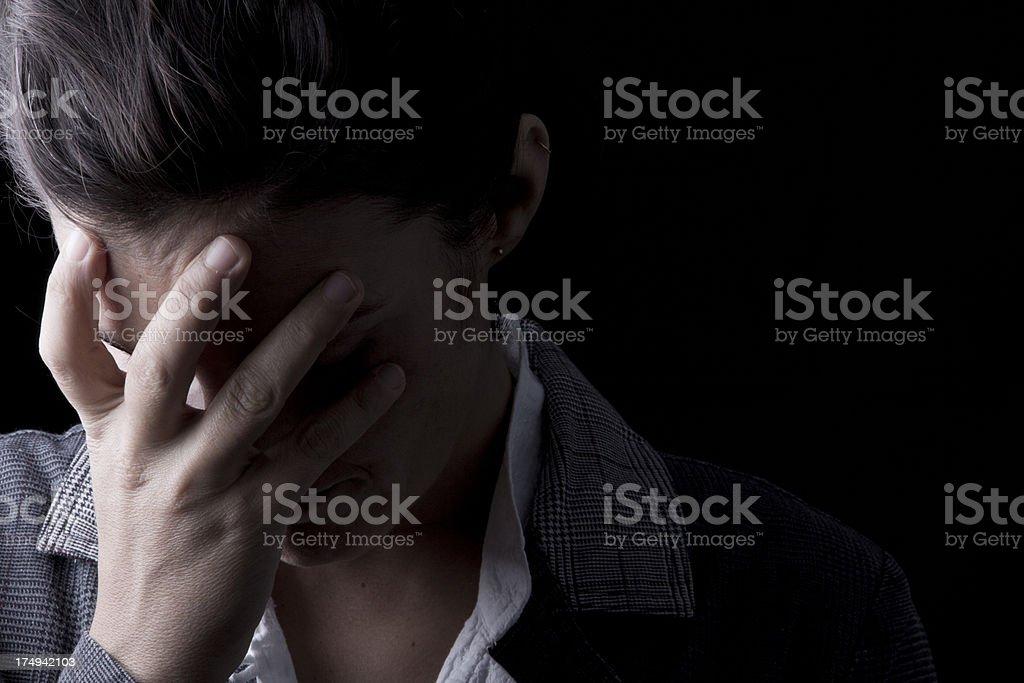 Depressed businesswoman stock photo