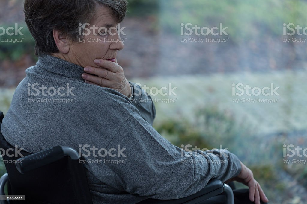 Depressed disabled women stock photo