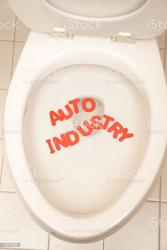 Depressed Economy Leaves Auto Industry in the Toilet royalty-free stock photo