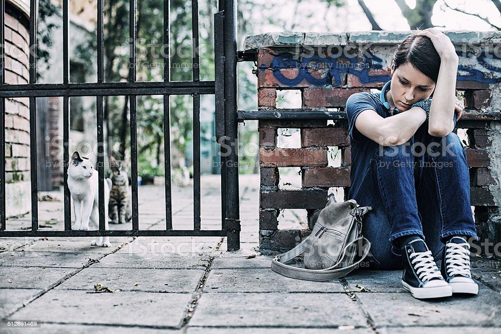 Depressed girl stock photo