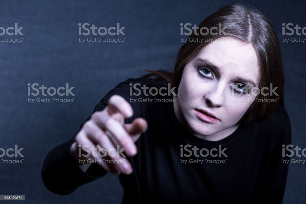 Depressed girl searching help stock photo