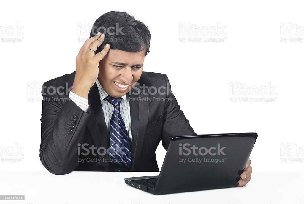 Depressed Indian Young Businessman royalty-free stock photo