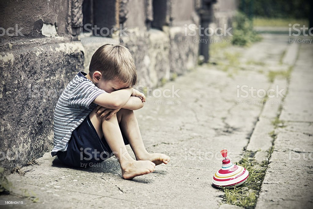 Depressed little boy royalty-free stock photo