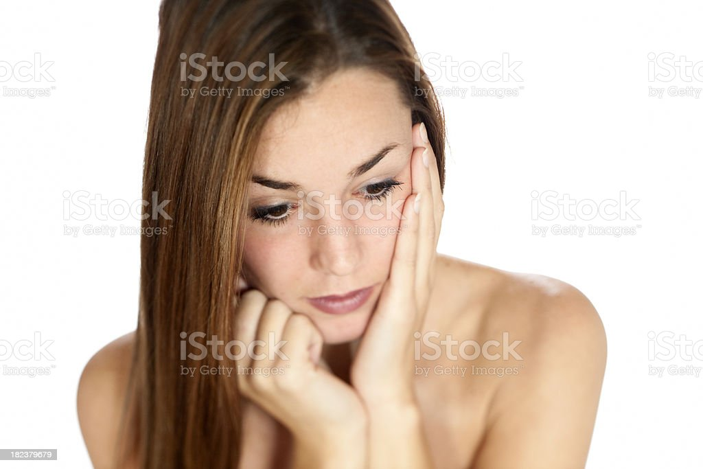 depressed looking young woman XXXL royalty-free stock photo