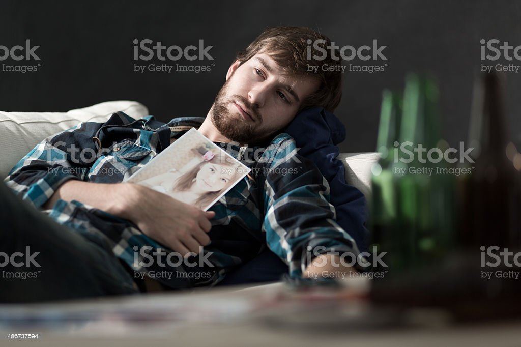 Depressed man after split up stock photo