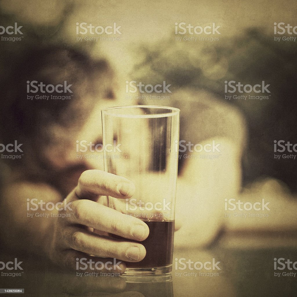 Depressed Man Drinking Alcohol royalty-free stock photo