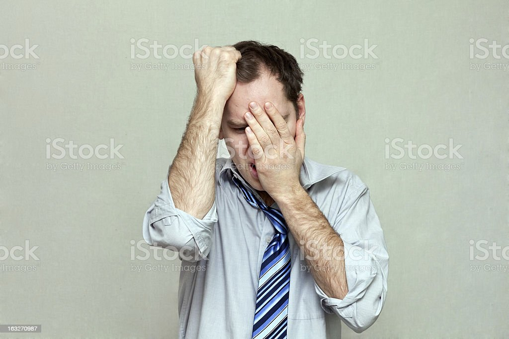 Depressed Office Worker Crying stock photo