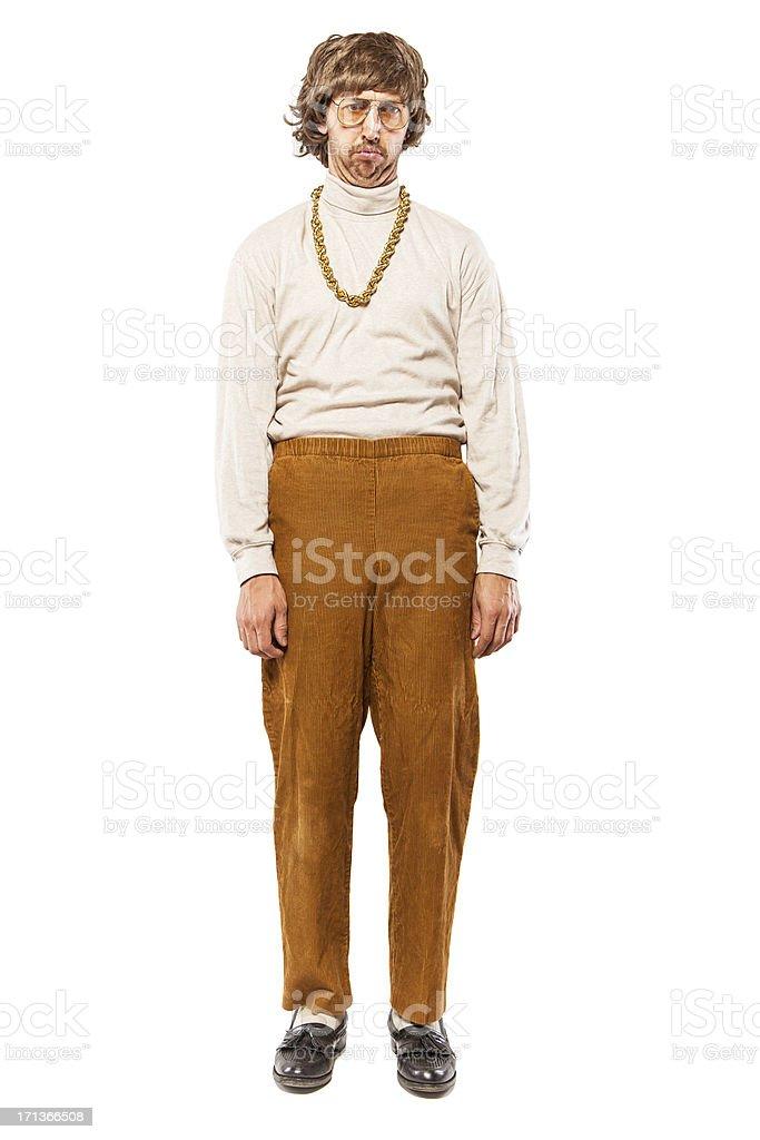 Depressed Retro Seventies Man on White stock photo