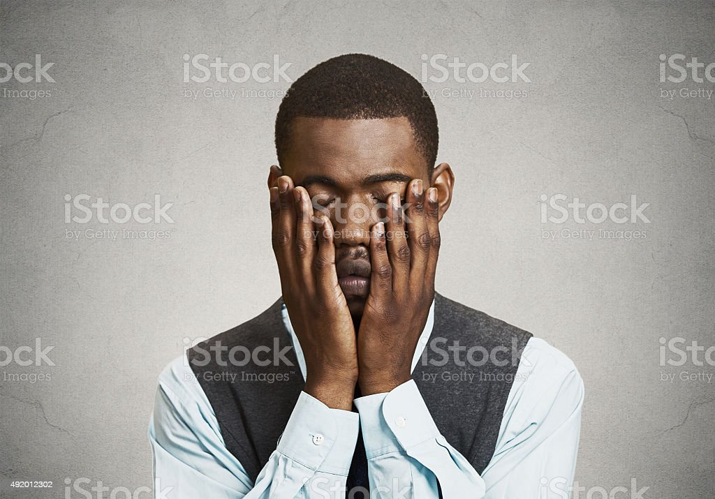 Depressed sad man stock photo