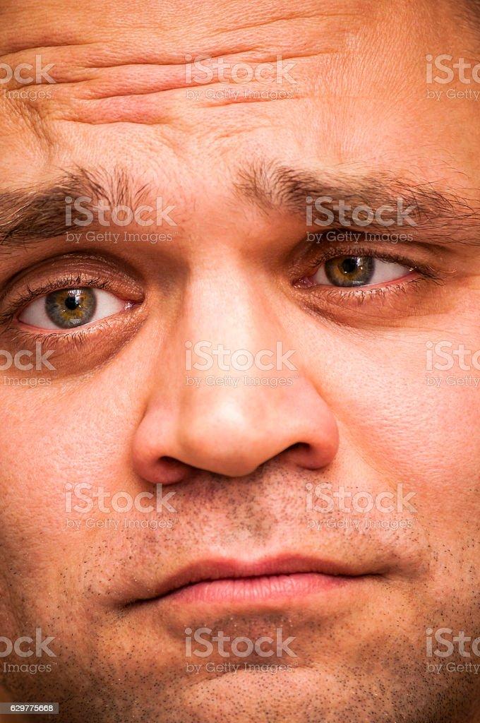 Depressed, sad, squinting man. Facial expression, emoji face, emotion...