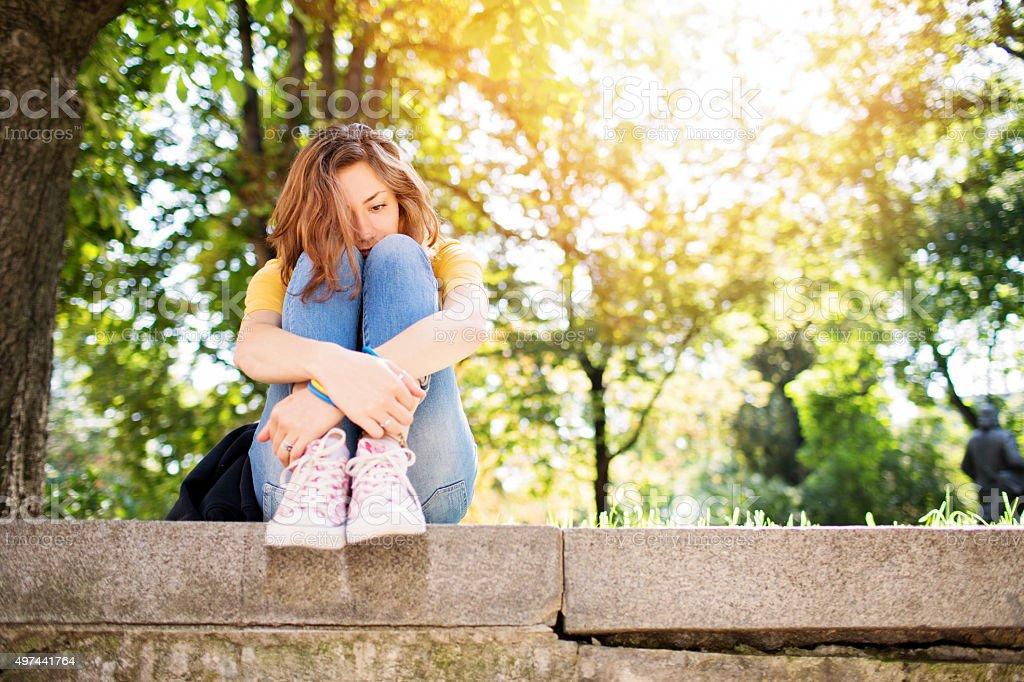 Depressed teenage girl stock photo
