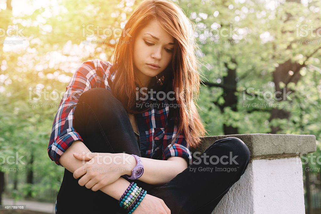 Depressed teenager stock photo
