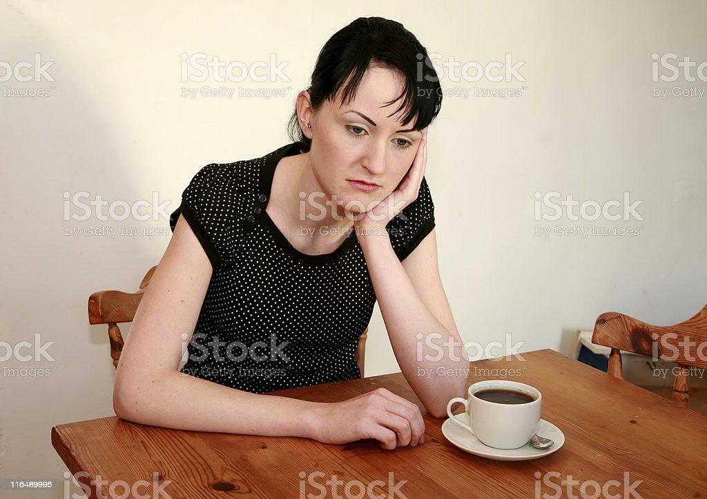Depressed with coffee stock photo