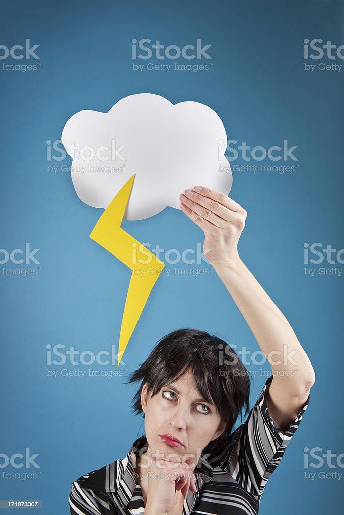 Depressed Woman Holding Rain Cloud Over Head stock photo