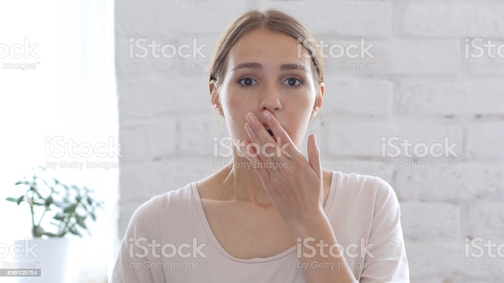 Depressed Woman in Shock, White Background stock photo