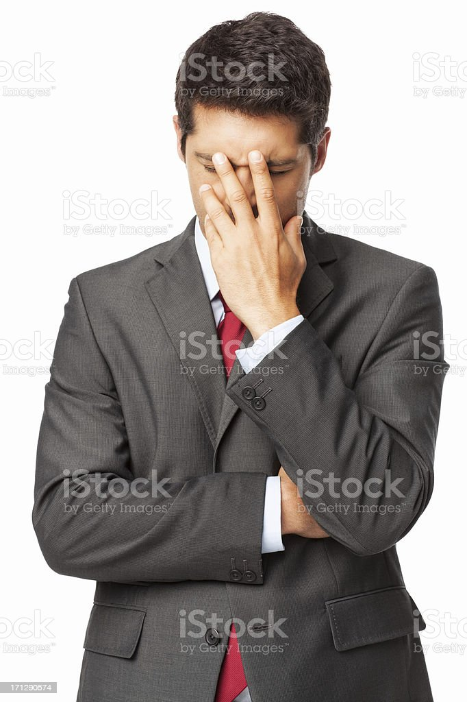 Depressed Young Businessman - Isolated royalty-free stock photo