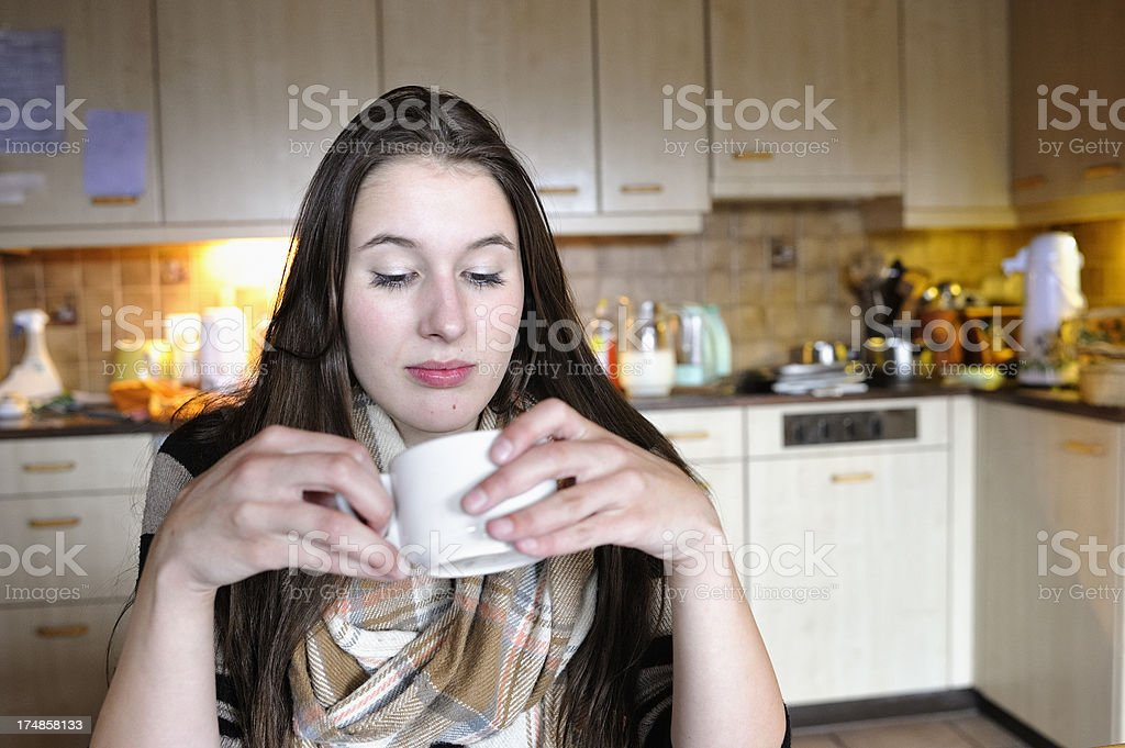 Depressed Young Housewife in Kitchen royalty-free stock photo