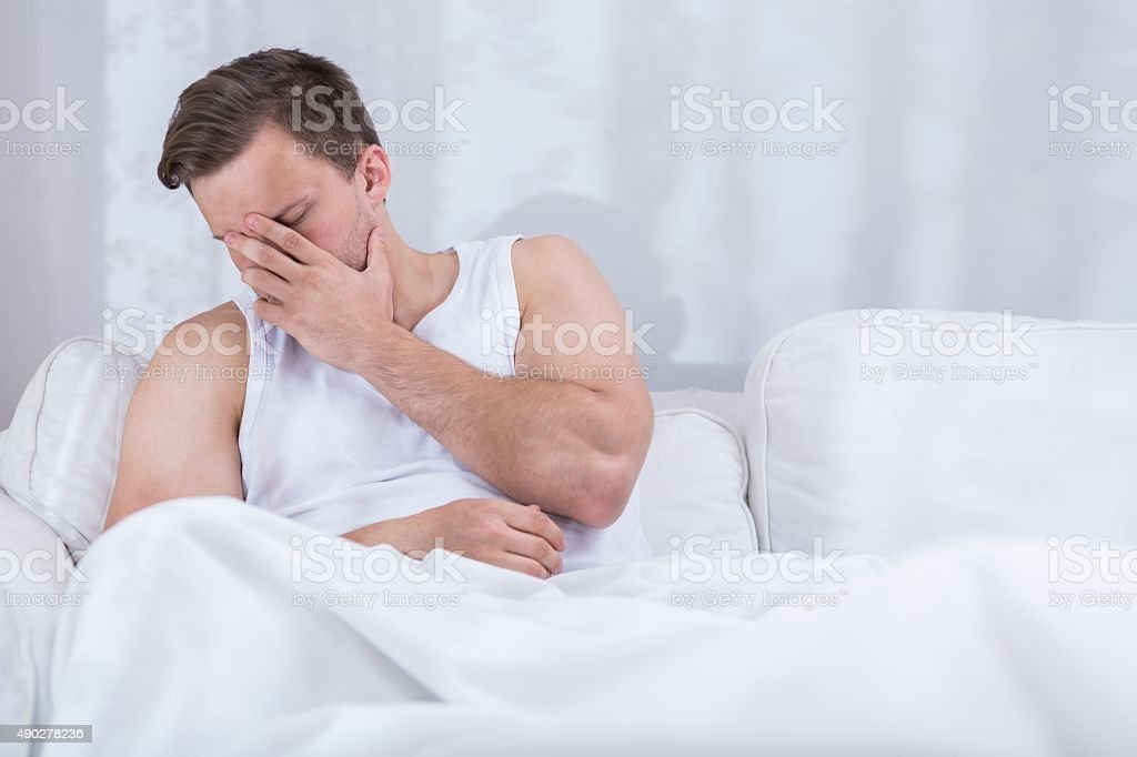 Depressed young husband after argue stock photo