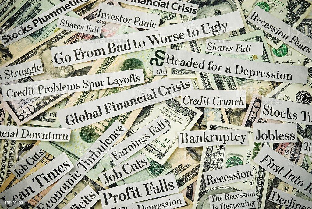 Depressing economy news - III stock photo