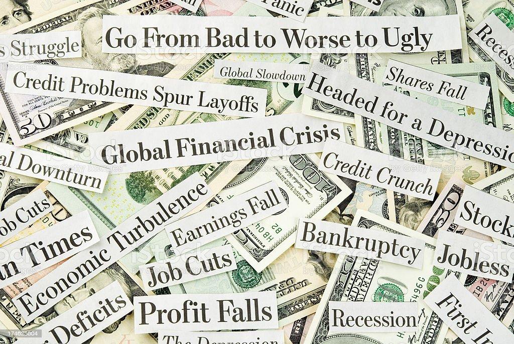 Depressing economy news - V stock photo
