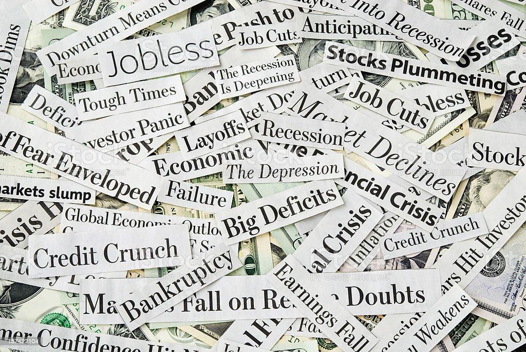 Depressing economy news - XIII stock photo