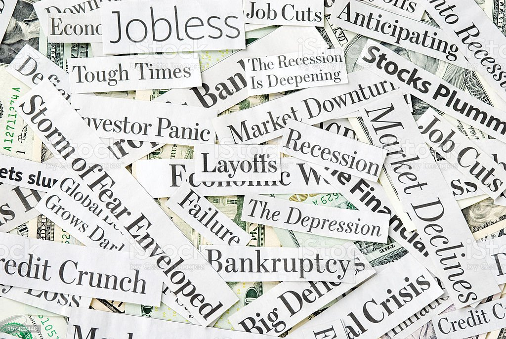 Depressing economy news - XVI stock photo