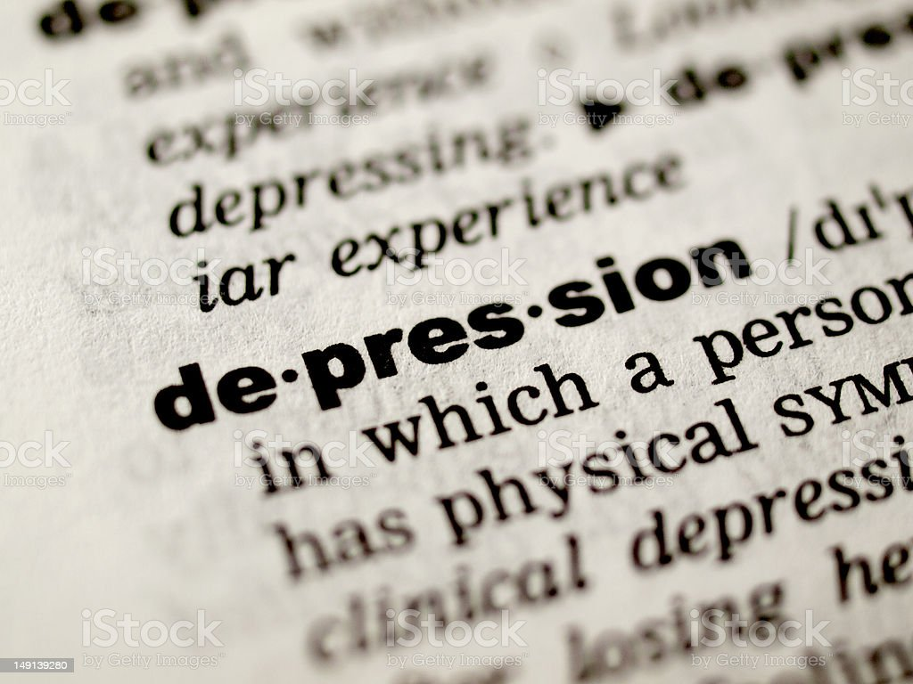 Depression definition stock photo