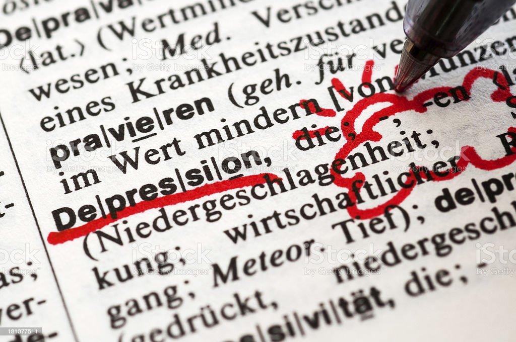 Depression - German word drawing royalty-free stock photo