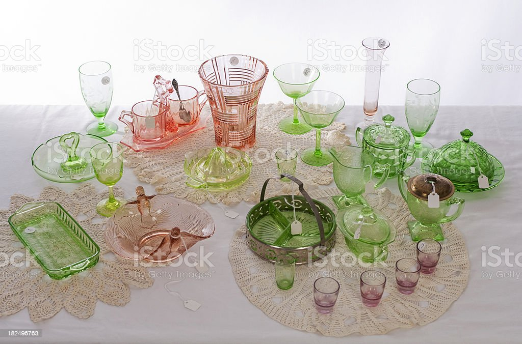 Depression Glass Collection At An Estate Sale royalty-free stock photo